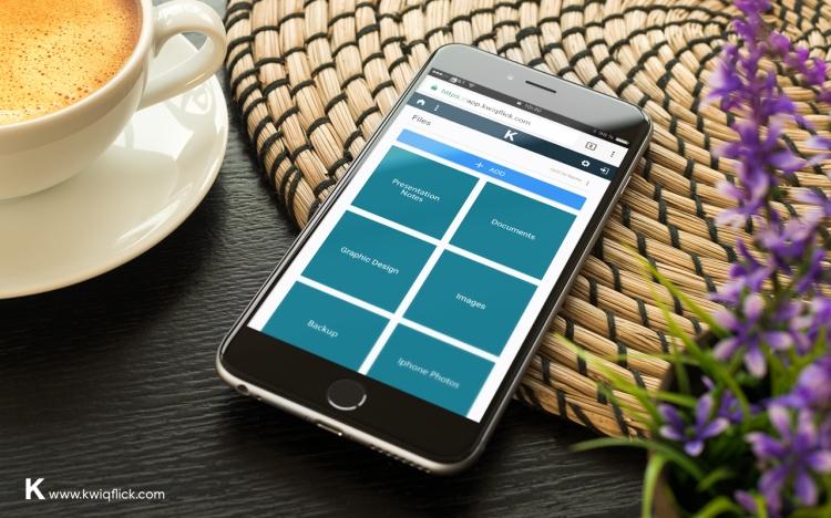 Showing Kwiqflick folders on mobile.